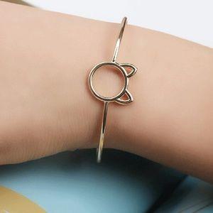 Gold Open Cat Bangle Bracelet